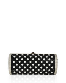 Cylinder Beaded East-West Clutch Bag, Silver Jet