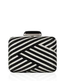 Striped Slim Crystal Clutch Bag, Jet