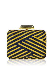 Striped Slim Crystal Clutch Bag, Indigo/Aurum