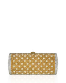Cylinder Beaded East-West Clutch Bag, Champagne