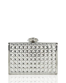 Slender Faceted Crystal Clutch Bag