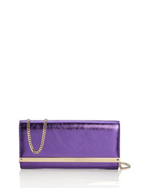 Milla Crinkled Leather Clutch Bag, Boho Purple
