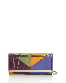 Milla Patchwork Snakeskin Clutch Bag, Boho Purple Mix