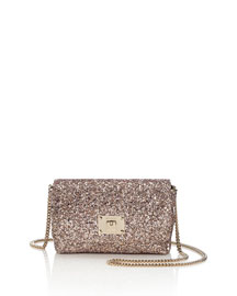 Ruby Glittered Shoulder Bag, Nude