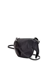Leather Elephant Mini Bag, Black