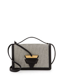 Barcelona Canvas Crossbody Bag, Natural/Black