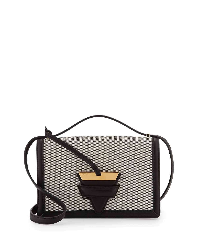 Loewe Barcelona Canvas Crossbody Bag, Natural/Black