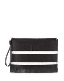 Medium Fringed Leather Zip Pouch Bag, Black/White