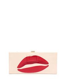Kiss-Print Patent Pilgrim Clutch Bag, White