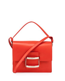 Icon Carre Mini Napa Shoulder Bag, Coral