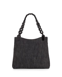 Denim Chain-Handle Shoulder Bag, Black
