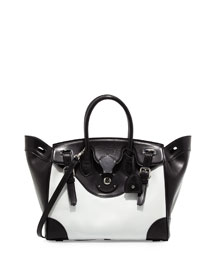 Ricky 33 Bicolor Leather Satchel Bag, White/Black