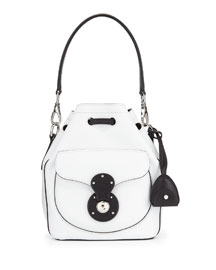 Ricky Small Bicolor Leather Bucket Bag, White/Black