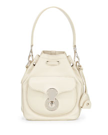 Ricky Small Leather Bucket Bag, Bone