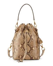 Small Ricky Python Bucket Bag, Tan