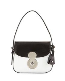 Ricky Small Bicolor Cartridge Bag, White/Black