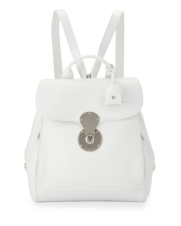 Ralph Lauren Ricky Calf Leather Backpack, White