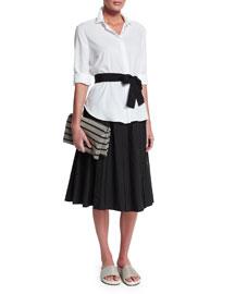Monili-Beaded Fold-Over Clutch Bag, Black/Silvertone