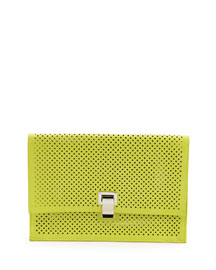 Small Perforated Leather Lunch Bag, Sulfur