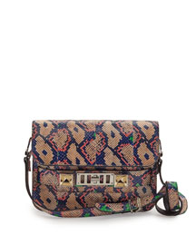 PS11 Mini Classic Snakeskin Shoulder Bag, Dune/Aloe/Hibiscus
