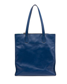 Soft Calfskin North-South Tote Bag, Bluette
