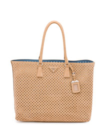 Suede Perforated Tote Bag, Tan (Cammello)