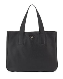 Vitello Daino Leather Tote Bag, Black (Nero)