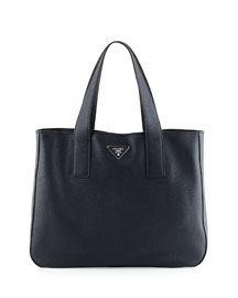 Vitello Daino Medium Open Wide Strap Tote Bag, Dark Blue (Baltico)