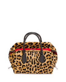 Calf Hair & Ostrich Medium Inside Bag, Leopard/Red/Black (Miele+Fuoco+Nero)