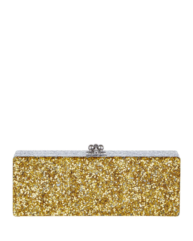 Edie Parker Flavia Ribbon Acrylic Clutch Bag, Golden Confetti, Gold Confetti/Sil
