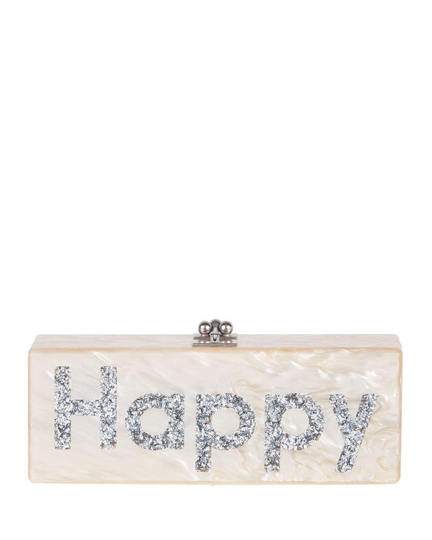Edie Parker Flavia Happy Acrylic Clutch Bag, Nude