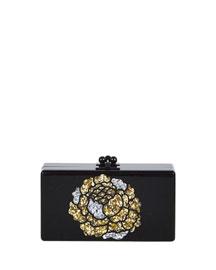 Jean Metallic Flower Acrylic Clutch Bag, Obsidian Sand