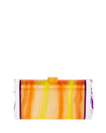 Lara Acrylic Backlit Ice Clutch Bag, Mango/Orchid