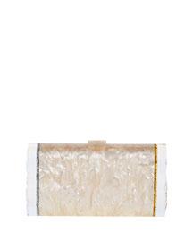 Lara Acrylic Backlit Ice Clutch Bag, Silvertone/Golden