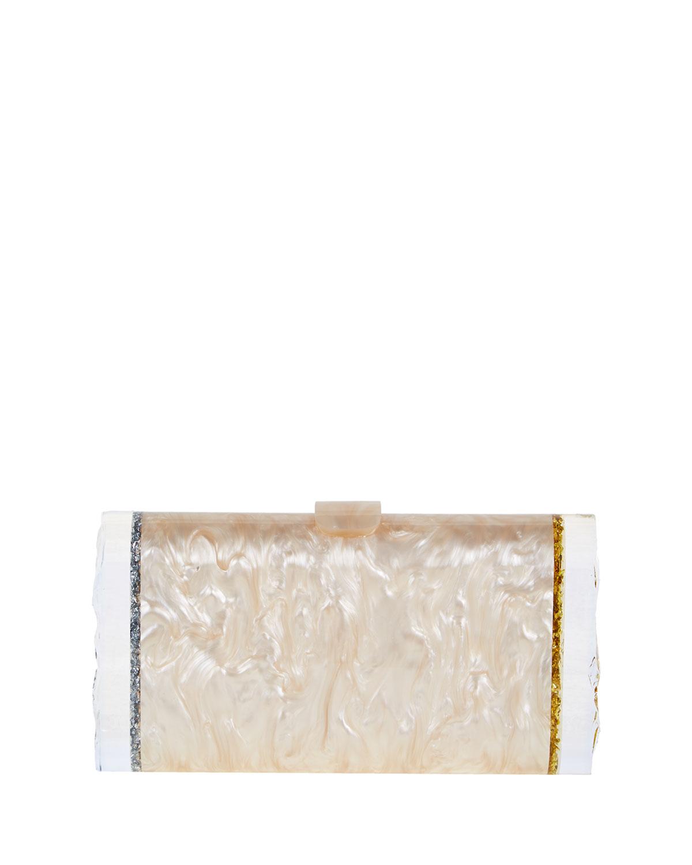 Edie Parker Lara Acrylic Backlit Ice Clutch Bag, Silvertone/Golden, Nude/Silver/Gold