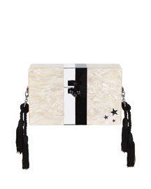 Small Trunk Vintage Stripes Clutch Bag, Nude/Multi