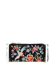 Soft Laura Embroidered Satin Clutch Bag, Black/Multi