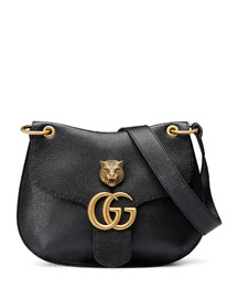GG Marmont Leather Tiger Bag, Black (Nero)