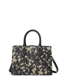 Arabesque Canvas Top Handle Bag, Black