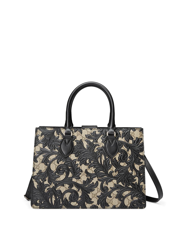 Gucci Arabesque Canvas Top Handle Bag, Black, Beige Ebony/Nero