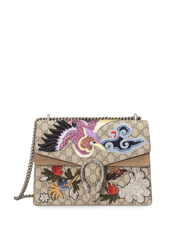 Gucci Dionysus Embroidered GG Supreme Canvas Shoulder Bag, Multi