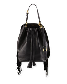 Prince Fringed Leather Bucket Bag, Black