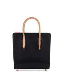 Paloma Small Calf Tote Bag, Black/Brown