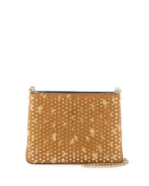 Triloubi Studded Calf Hair Shoulder Bag, Golden/Espadon
