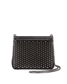 Triloubi Small Studded Leather Shoulder Bag, Black/Gunmetal