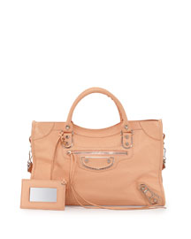 Metallic Edge Classic City Bag, Rose Peche
