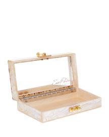 Jean Confetti-Striped Box Clutch Bag, Nude/Sand