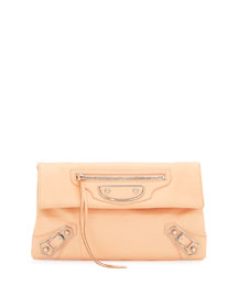 Classic Metallic Edge Envelope Clutch Bag, Rose Peche