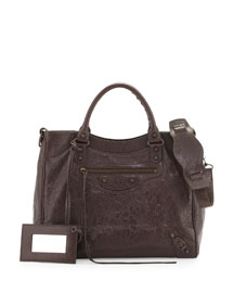 Classic Velo Lambskin Crossbody Bag, Gris Fossile
