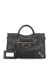 Metallic Golden Edge City Bag, Black